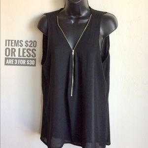 Black Sleeveless Zipper Front Top (Libian) Size 2X